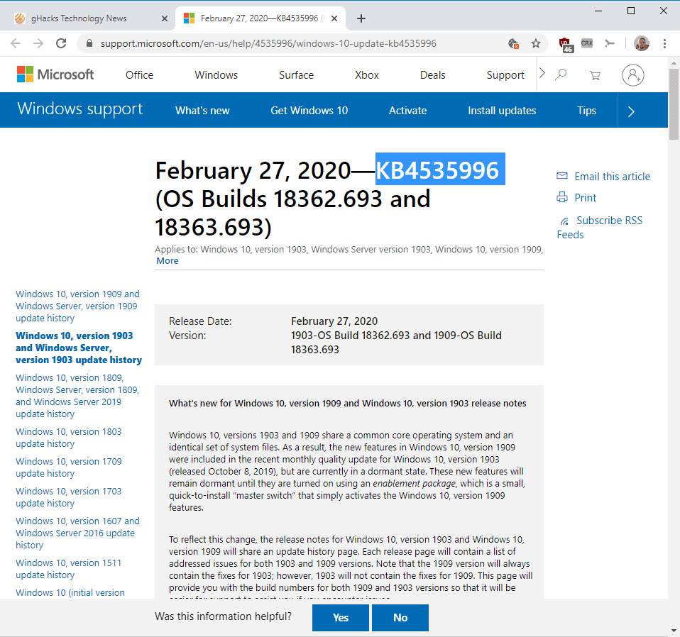 Microsoft releases KB4535996 for Windows 10 version 1903 and 1909 thumbnail
