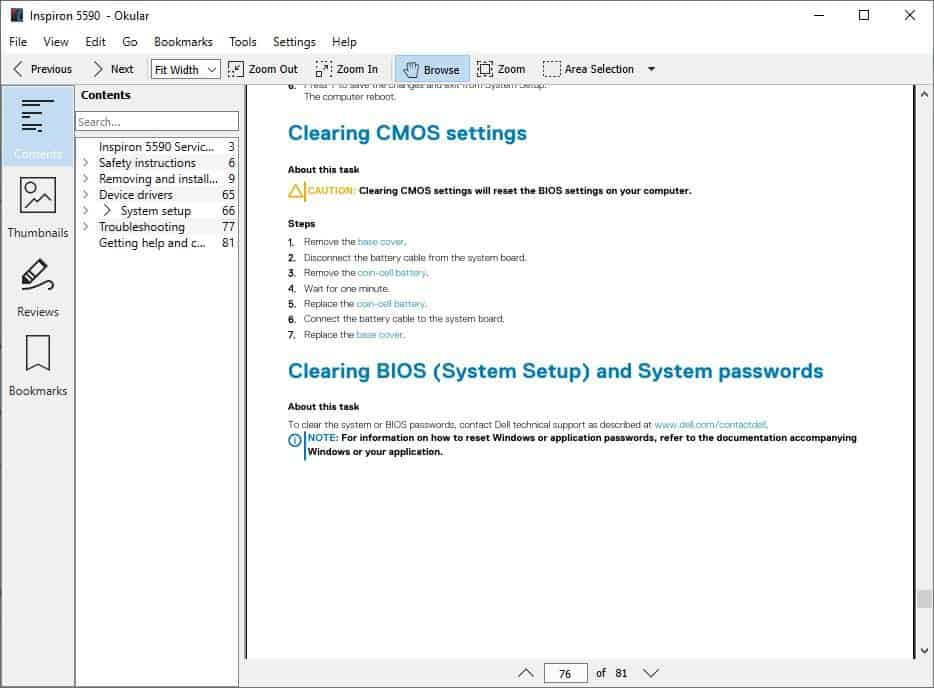 Okular PDF viewer