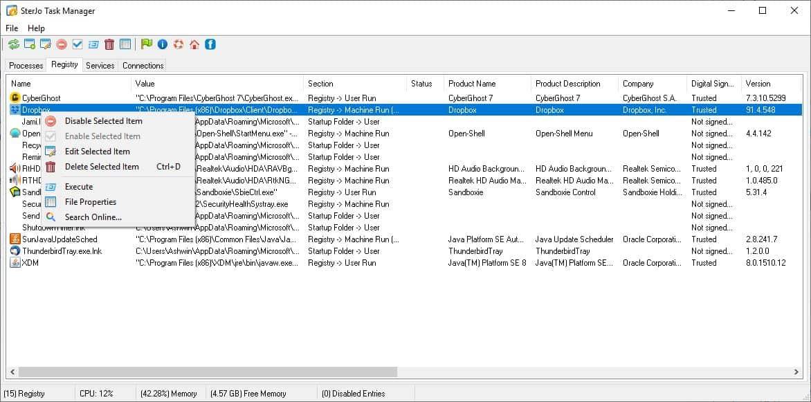 SterJo Task Manager Registry Tab
