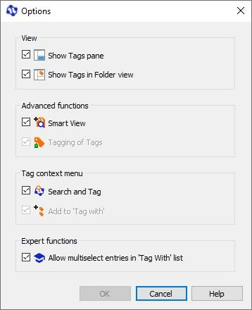 Tags context menu options
