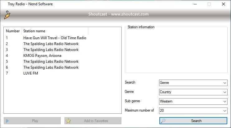 Tray Radio Shoutcast Search 2
