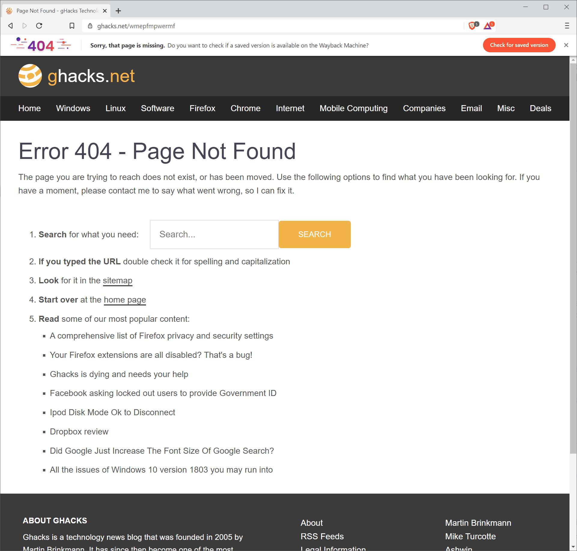 brave page not found restore