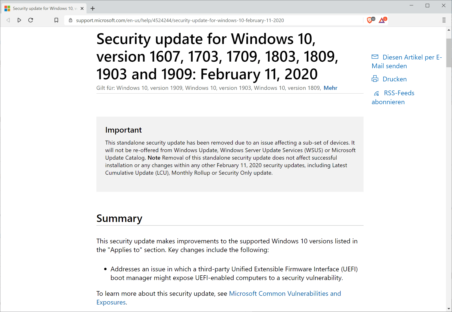 Microsoft pulls the security update KB4524244 for Windows 10 - Ghacks Technology News