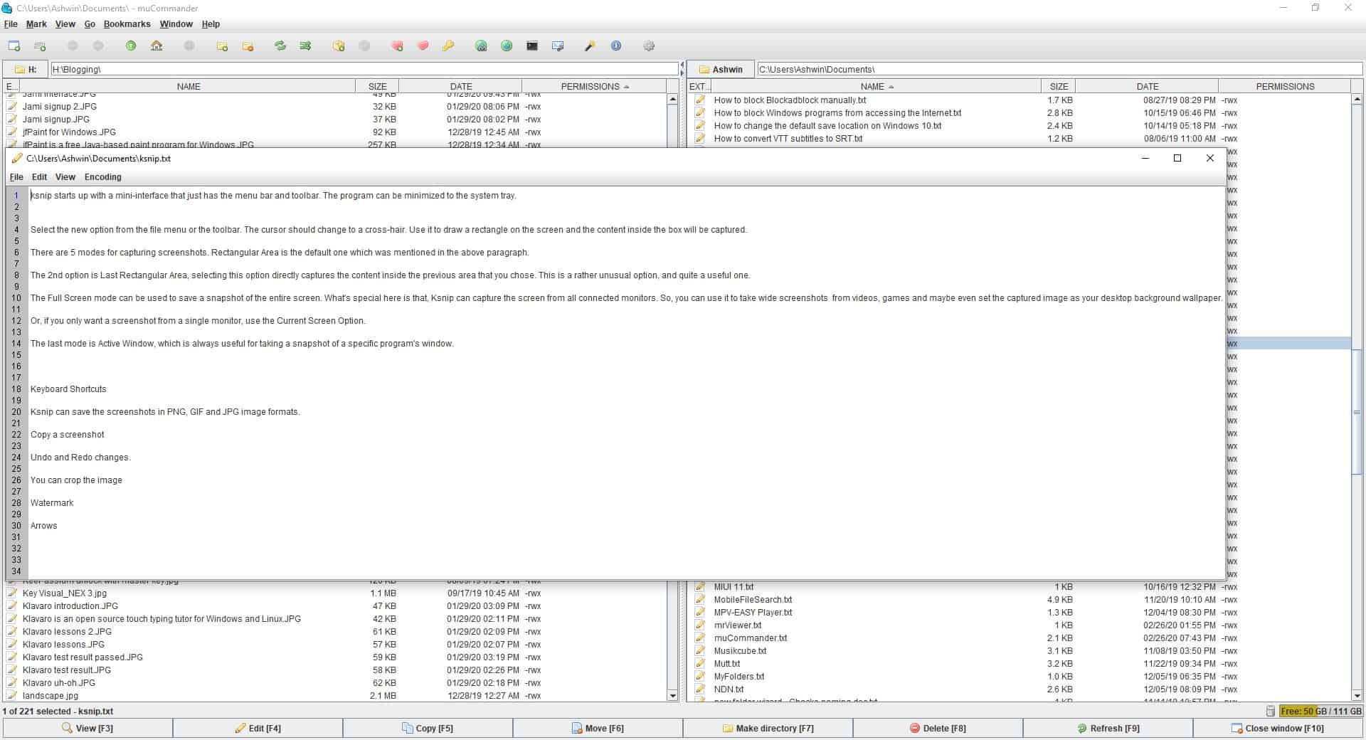 mucommander internal editor - text