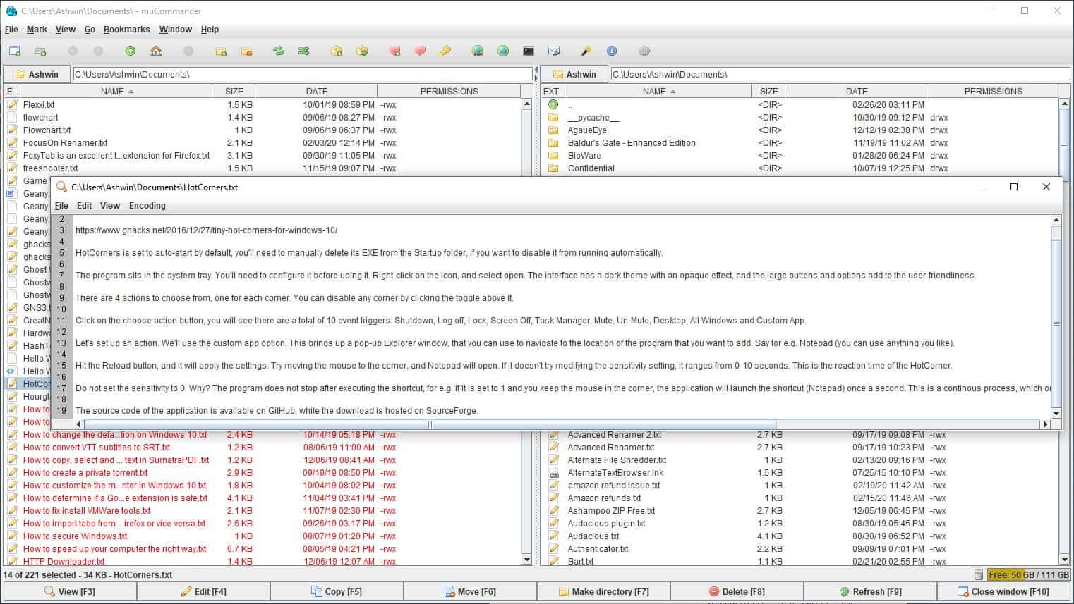 mucommander internal viewer - text