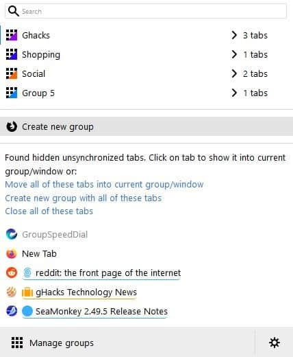 simple tab groups - show other tabs