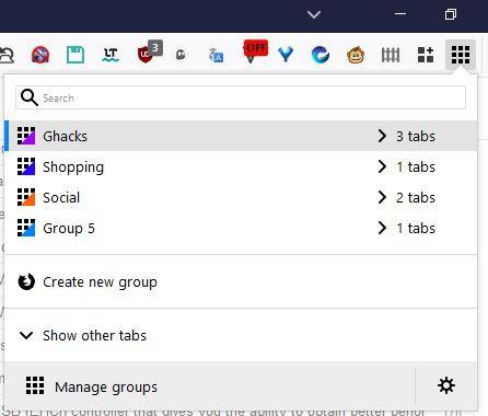 simple tab groups toolbar menu