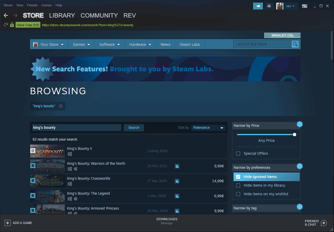 steam search improved