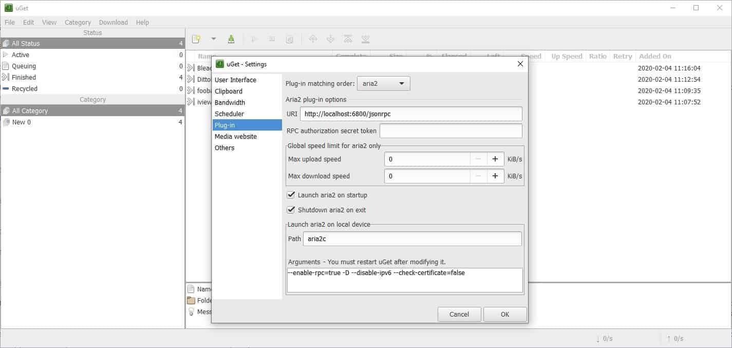 uGet aria2 plugin enable