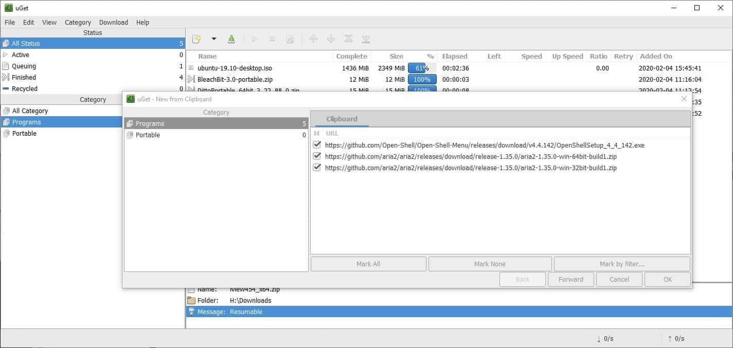 uget batch downloads