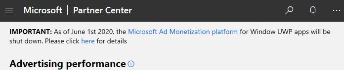 uwp monetization platform shutdown