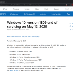 windows 10 version 1809