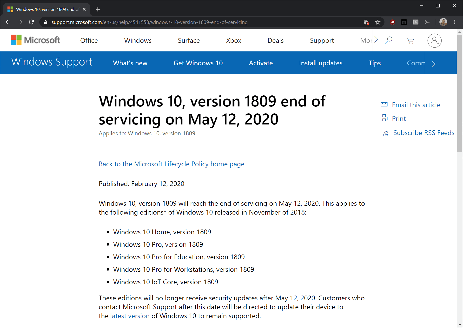 Windows 10 version 1809 will reach end of support in May 2020 - Ghacks Technology News