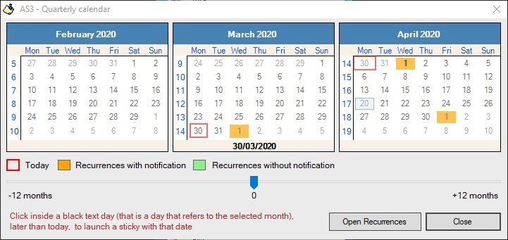 Alarm Stickies 3 calendar