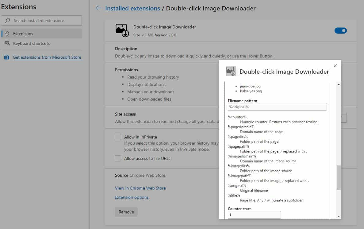 Double-click Image Downloader options chrome