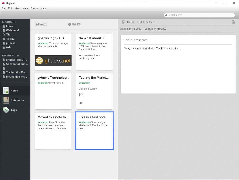 Elephant is an open source, cross platform note taking application