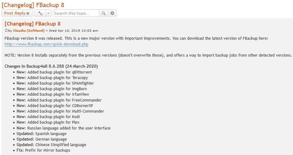 FBackup 8.6.288 change log