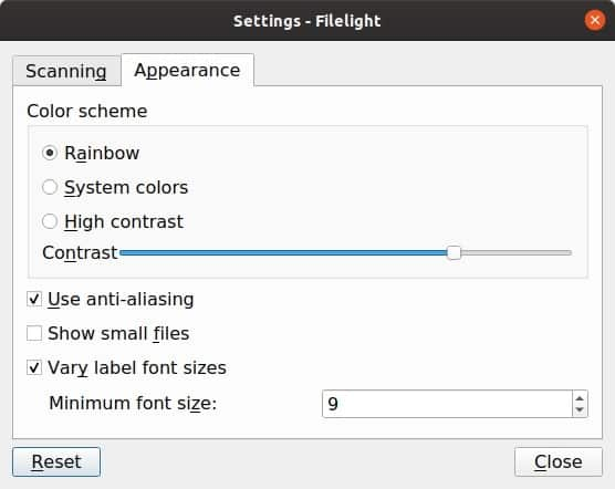 Filelight linux settings