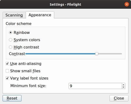 Filelight linux settings