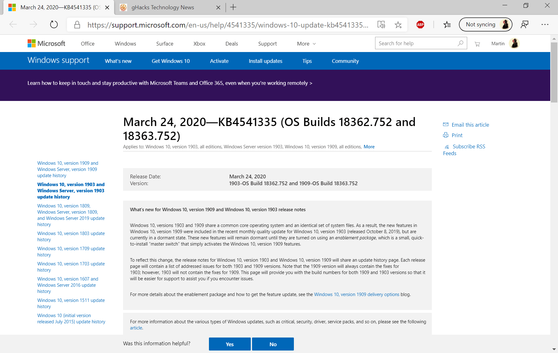 KB4541335 for Windows 10 1903 and 1909 released