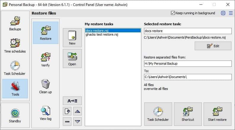 Personal Backup tools