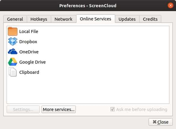 ScreenCloud options