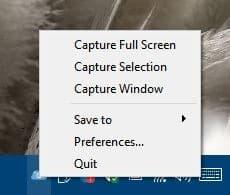 ScreenCloud tray menu