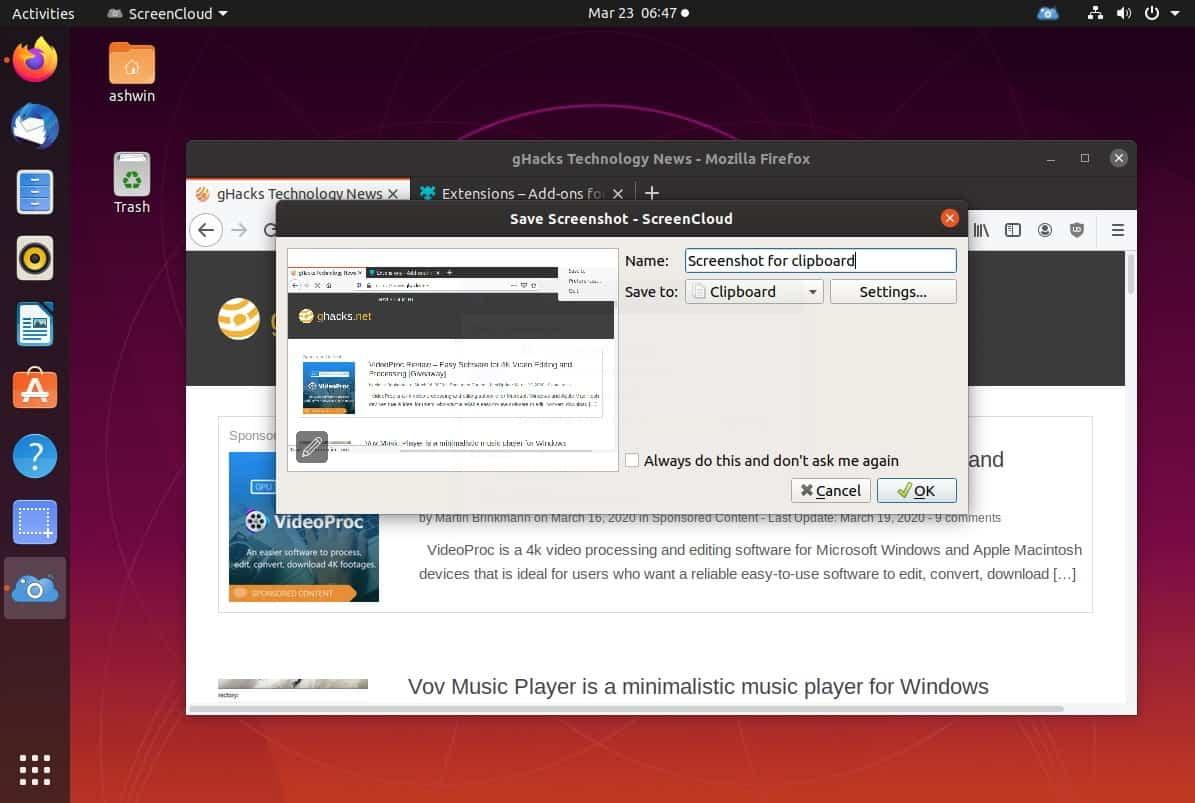 ScreenCloud window capture linux