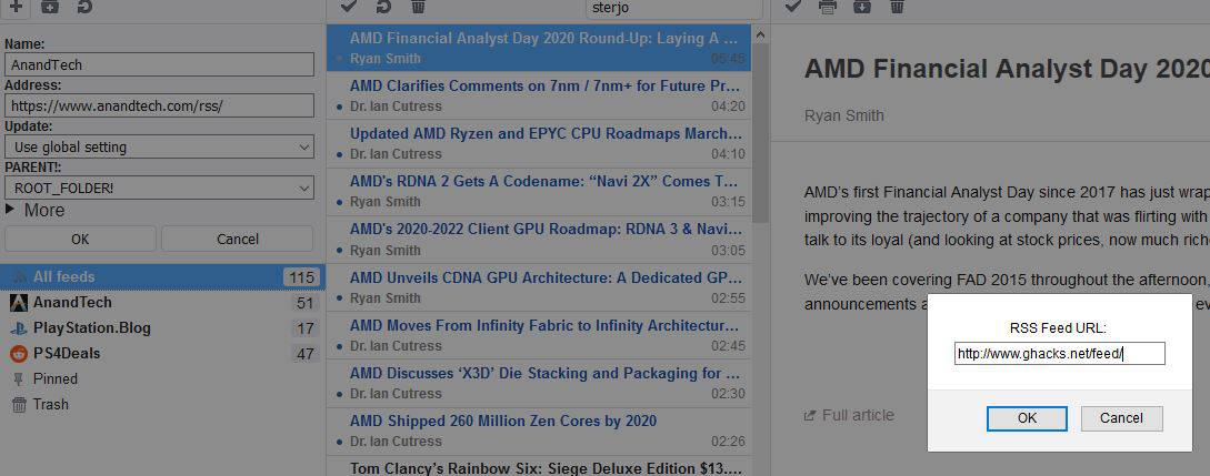 Smart RSS Reader adding a feed