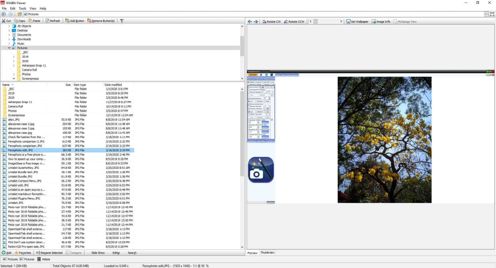 WildBit Viewer is a freeware image viewer that comes with an editor, batch renamer, slideshow tool and more