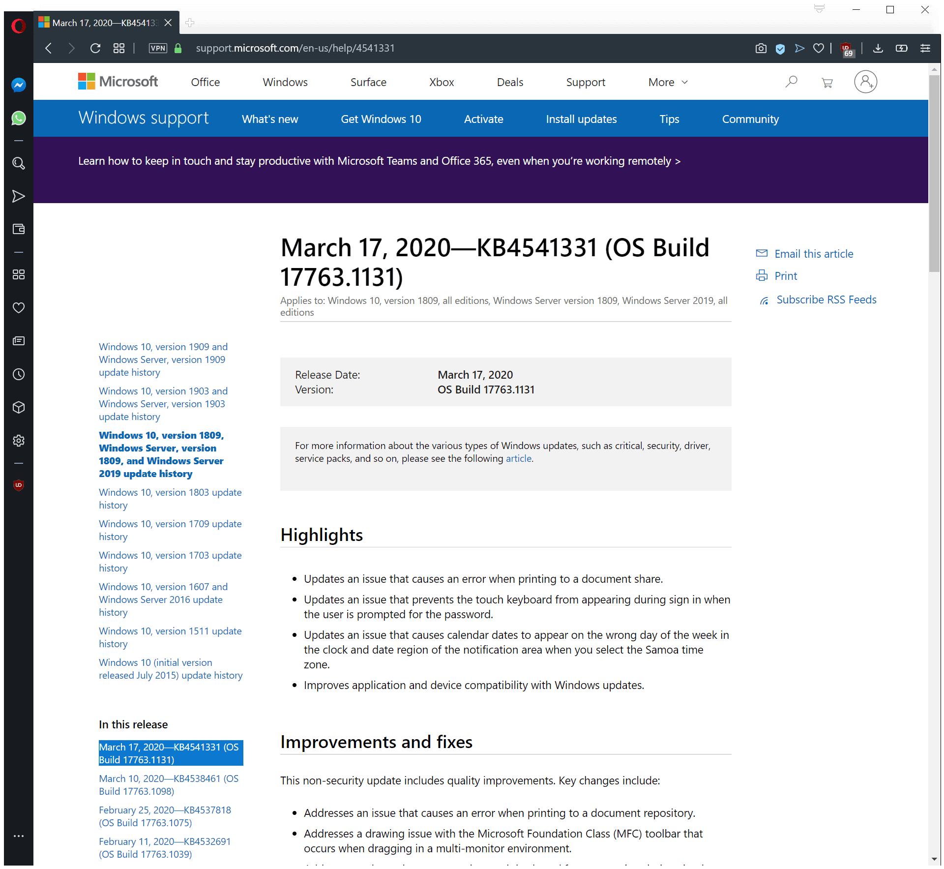 Windows 10 updates KB4541329, KB4541330, KB4541331 and KB4541333