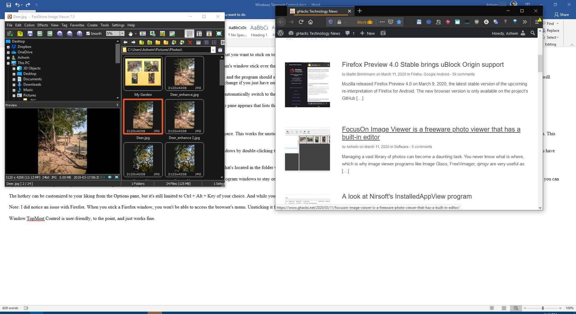 Windows Topmost Control example