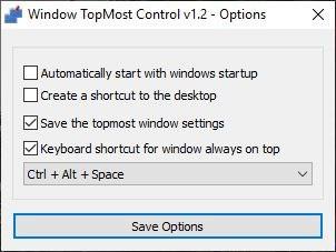 Windows Topmost Control options