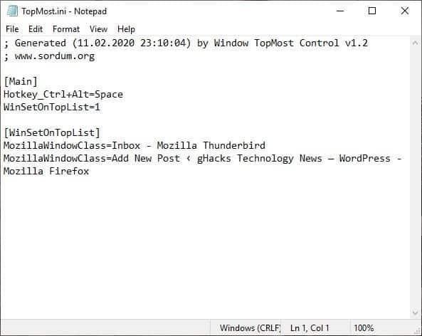 Windows Topmost Control settings