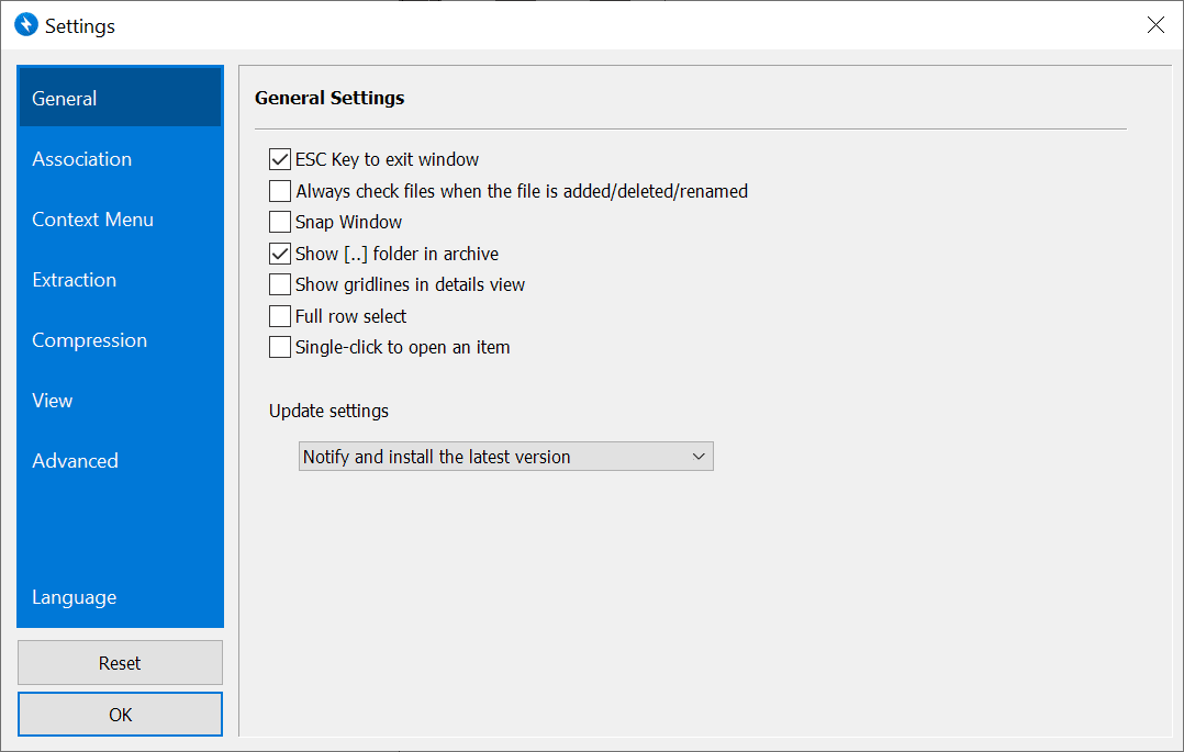 bandizip settings