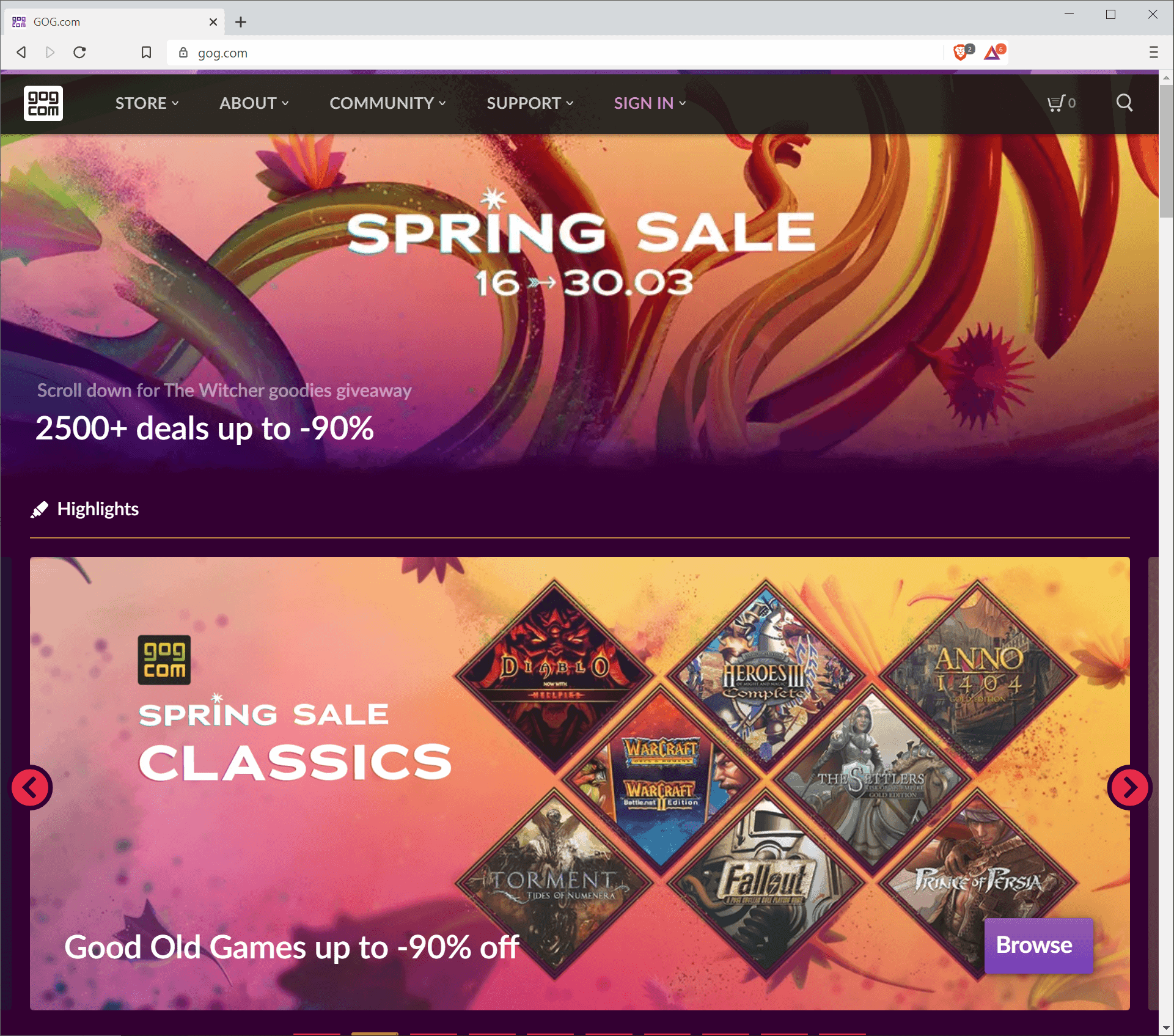 Gog Spring Sale 2020 with more than 2500 discounted games until March 30