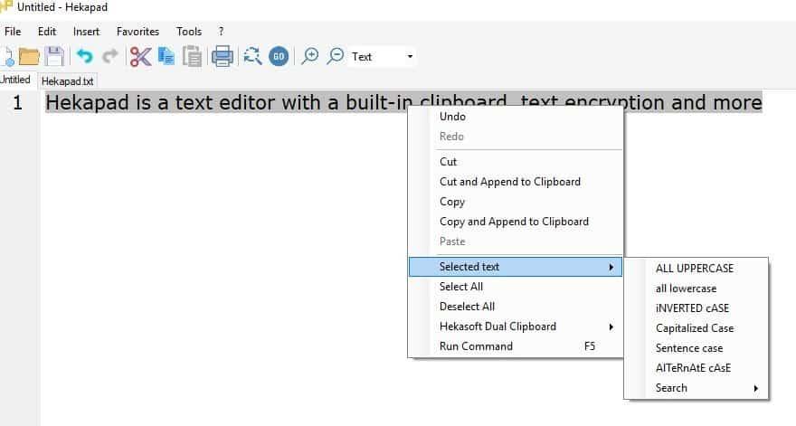 hekapad context menu