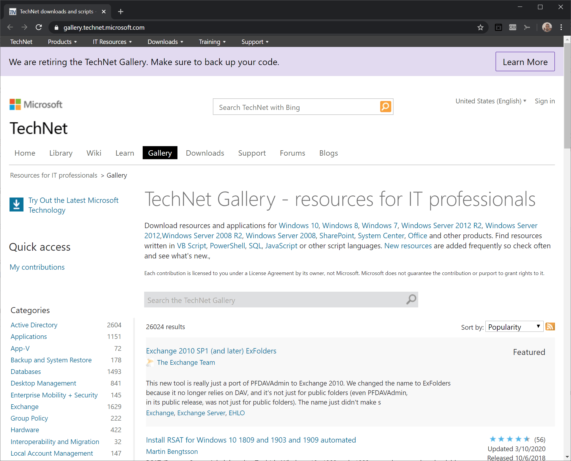 Microsoft announces retirement of the TechNet Gallery (and all its scripts)