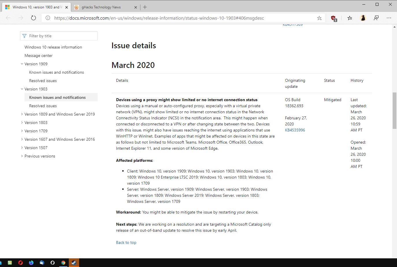 windows 10 connectivity issue