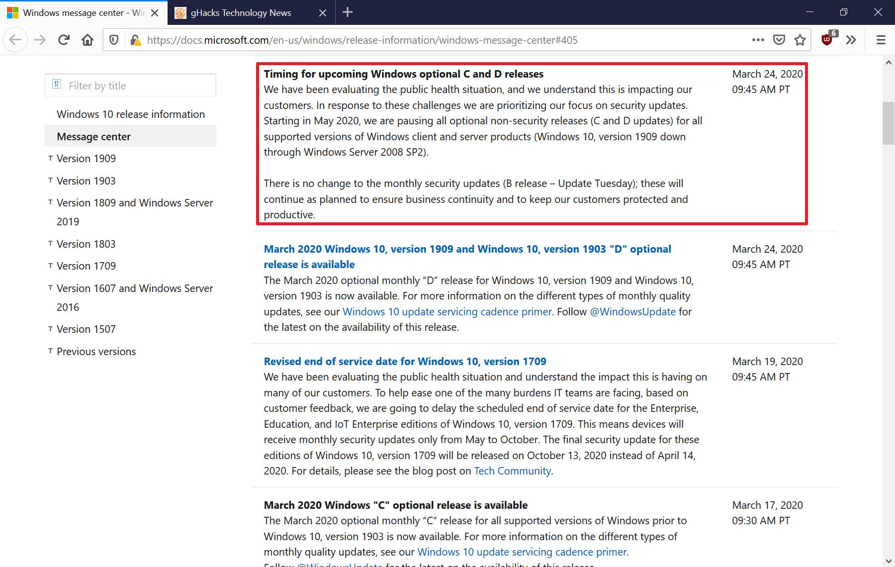 windows pause optional updates