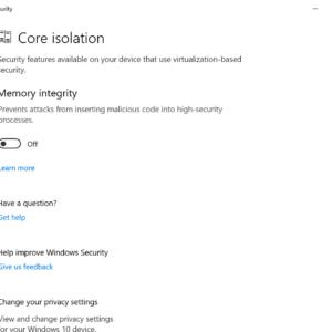 windows security memory integrity