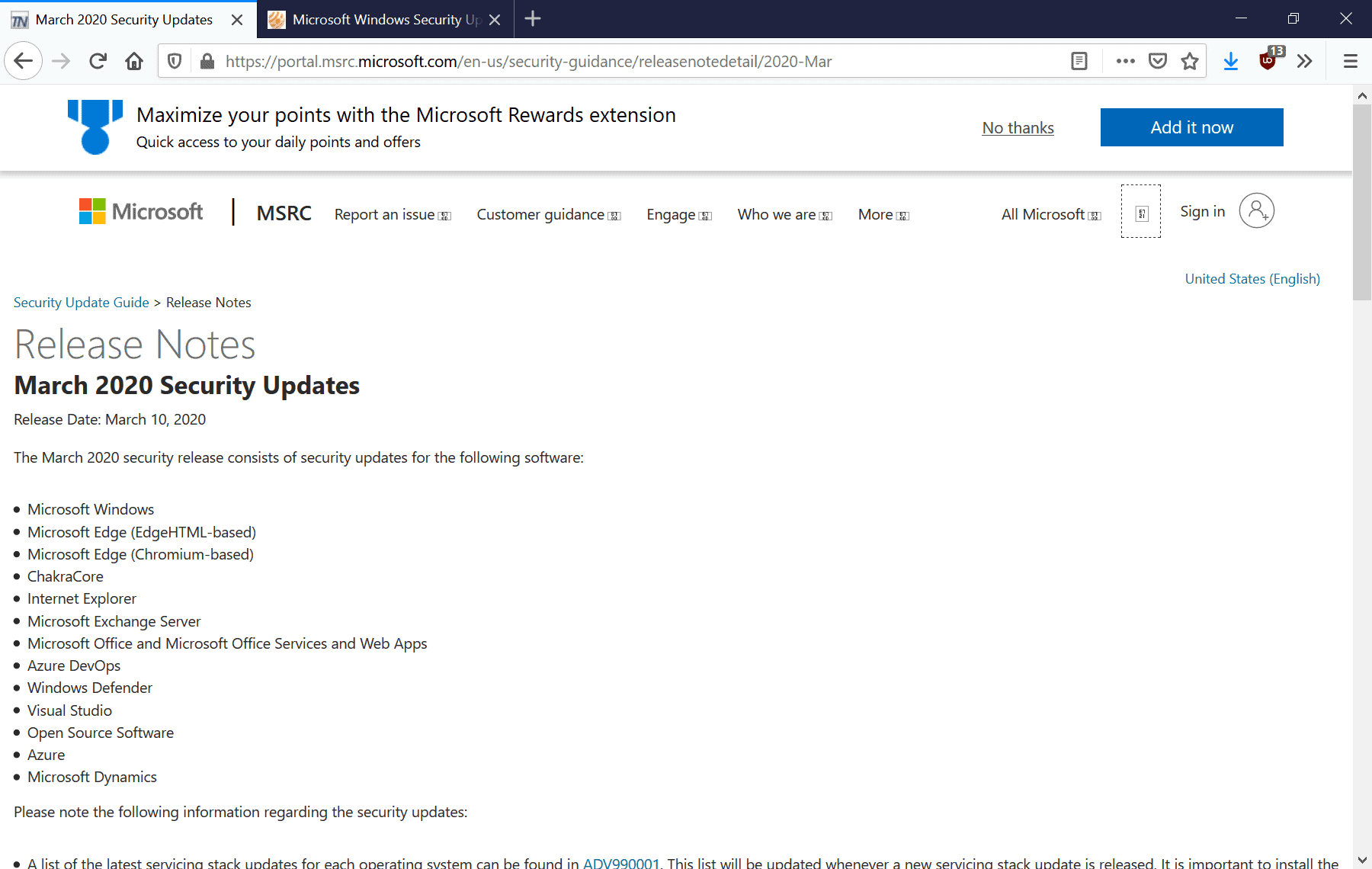 windows-security updates march 2020