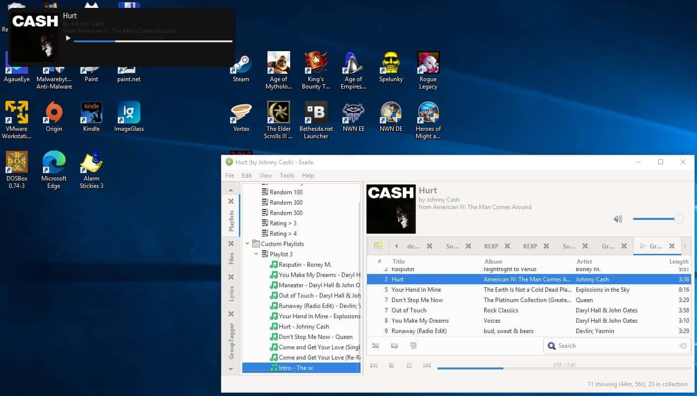Exaile music player OSD