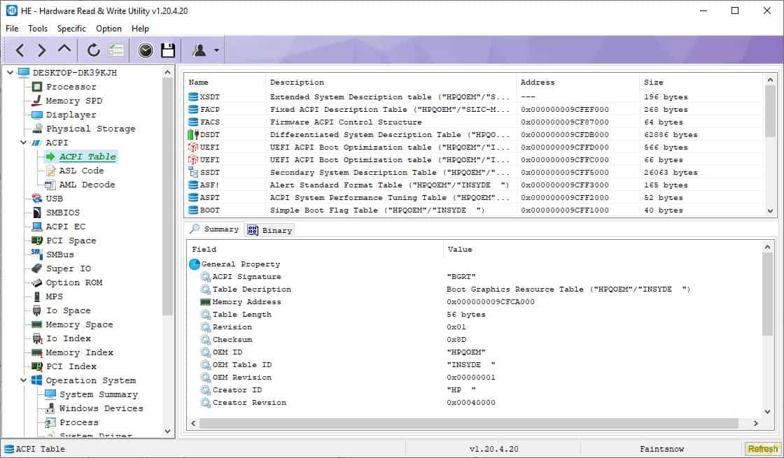 HE - Hardware Read & Write Utility is an advanced system diagnostic tool for Windows