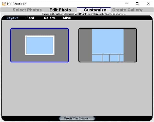 HTTPhotos HTML Photo Gallery customize
