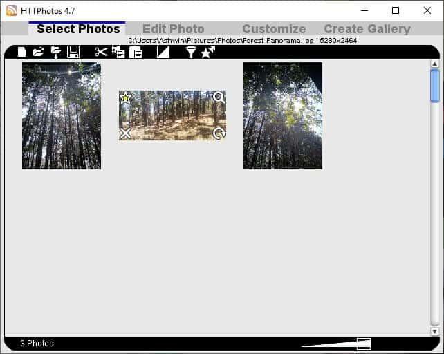HTTPhotos interface