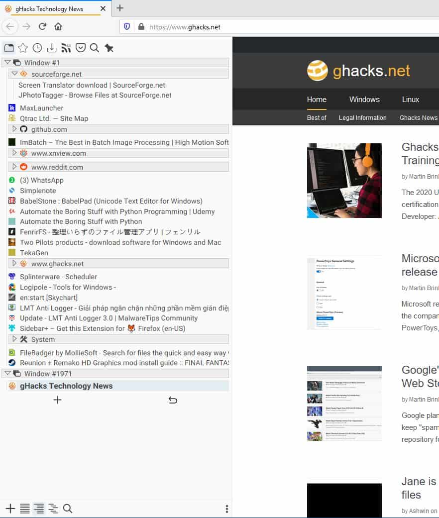 Manage your tabs, bookmarks, downloads with the Sidebar+ extension for Firefox