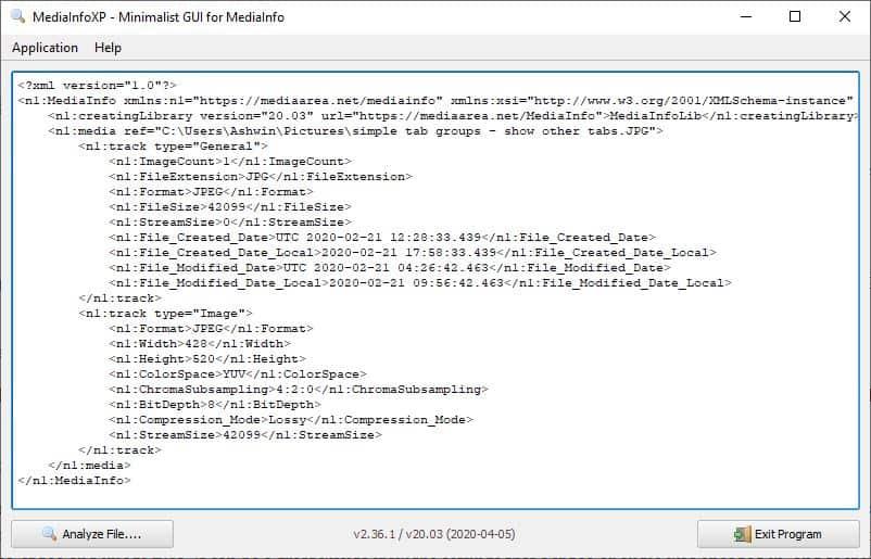 MediaInfoXP XML output