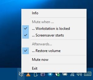 Mute your computer's audio automatically when it enters the lock screen or when the screensaver starts