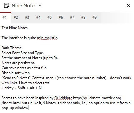 Nine Notes interface 2